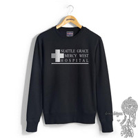 JUST LOGO Seattle Grace Mercy West Hospital printed on Black, White, Light steel, Maroon or Navy Crew neck Sweatshirt