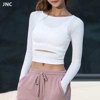 Yoga Crop Top Shirt Long Sleeve Sportswear.