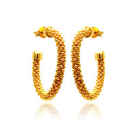 Sterling Silver Gold Plated Crescent Hoop Earrings