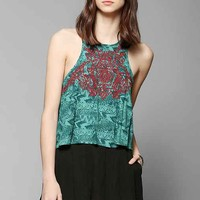 Ecote Sienna Embroidered Cropped Tank Top- Floral Multi L