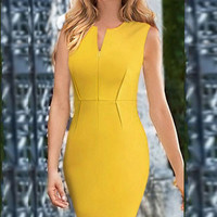Yellow Sleeveless Bodycon Dress