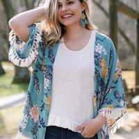 Birds Of A Feather Floral Kimono, Seafoam