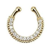 Non-piercing Septum Piercing Clicker Crystal Clear Gems Single Line Paved Gem Non-piercing Septum Hanger