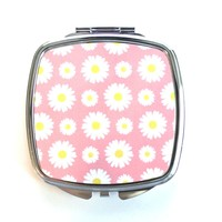 Pink and White Daisies Compact Mirror