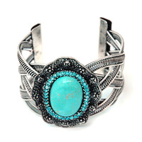 Turquoise Stone Metal Braided Cuff Bracelet w/ Mini Rhinestone & Rosette Accents Color: Turquoise