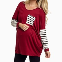 Burgundy-Striped-Sleeve-Maternity-Top