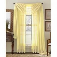 HLC.ME, Pair of Yellow Sheer Curtain Panels Window Treatments