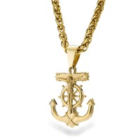 Mens Stainless Steel Gold Anchor Jesus Cross Pendant Necklace