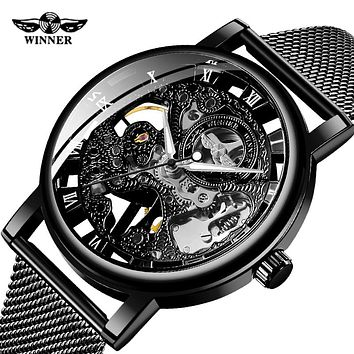 Fashion Brand WINNER Men Mechanical Watch Men Stainless steel Skeleton Hand wind WristwatchRelogio Masculino