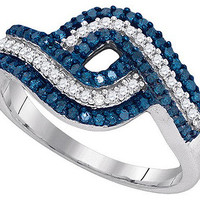 Blue Diamond Fashion Ring in 10k White Gold 0.5 ctw