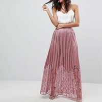 Little Mistress Tall Lace Pleated Maxi Skirt at asos.com
