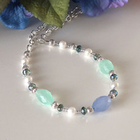 Beaded Necklace, Soft Green, Blue Glass Beads, White Freshwater Pearls, Crystals, Silver Chain