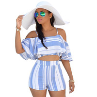 Blue and White Strappy Cutout Crop Top and Shorts