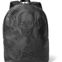 Alexander McQueen - Tattoo-Jacquard Leather-Trimmed Nylon Backpack
