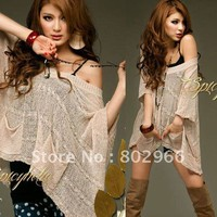 women autumn V neck loose sheerness batwing top