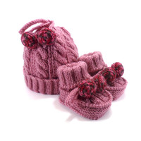 Knitted Baby Hat and Booties - Pink, 3 - 9 month