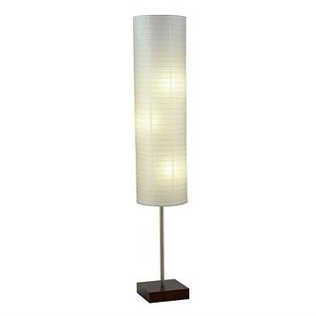 Modern Asian Style Floor Lamp with White Rice Paper Shade
