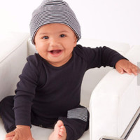 Baby Black Romper with Stripes and Cap