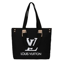 LV 2019 new simple canvas bag tote bag wild handbag Black