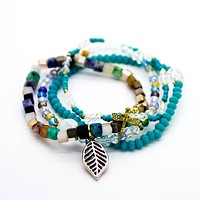 Leaf multi beaded bracelets set