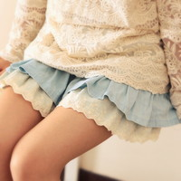 Spring Cute Lace Denim Mini Skirt