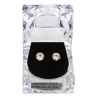 2 Pairs of 925 Sterling Silver 6mm or 7mm Four Prong Round Cubic Zirconia Stud Earrings