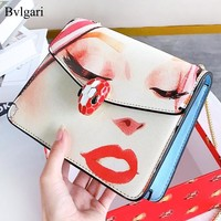 Bvlgari New fashion lips eye print leather chain shoulder bag women