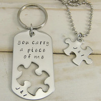 Couples Keychain and Necklace set, Puzzle Piece Jewelry, His and Hers