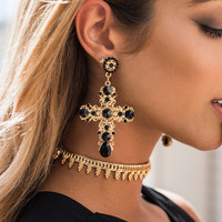 Vintage Boho Crystal Cross Drop Earrings for Women Jewelry