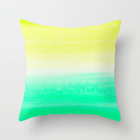 WHEN YELLOW MET TURQUOISE Throw Pillow by Rebecca Allen