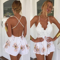 White Floral Backless Flounced Romper