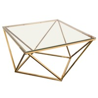 Gem Cocktail Table with Clear Tempered Glass Top and Polished Stainless Steel Base in Gold Finish