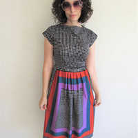 Vintage Polyester Funky Abstract 70s Day Dress