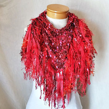 Red triangle scarf Boa fringe Cowl neck shawlette Valentines knit scarf Festive fashion scarflette Red pink purple with gold