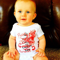 RUN ZOMBIES! Baby Halloween Costume Onesuit for baby boy or baby girl - Cute & Funny baby Zombie shirt with red spray paint and fake blood