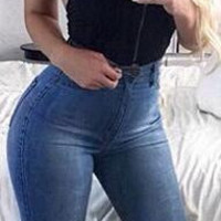 High Waist Blue Holes Ripped Beggar Slim Jeans