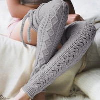 Ladies Women Stockings Winter Soft Cable Knit Over knee Long Boot Thigh High Warm Stockings Knit  Boot Thigh High#121