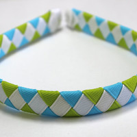 Mystic Blue, Lime & White Woven Ribbon Headband, Woven Headband, Braided Headband, Braided Ribbon Headband, Girls Hair Accessory