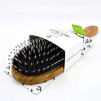 Boar Bristle Hair Brush - Bamboo Brush for Shiny, Healthy Hair and Preventing Breakage, Damage Split Ends, Frizzy, Unmanageable Locks - Added Pins to Detangle & Scalp Stimulation. Eco-Friendly Paddle
