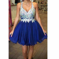 Hot Sale Luxury Beading Mini Chiffon V-Neck Homecoming Dress Short A-Line Party Dresses Graduation Dress Free Shipping