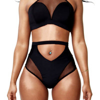 Black Mesh Accent High-Waist Racer Bikini