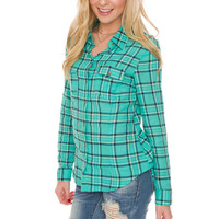 Country Chic Plaid Top - Mint