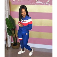 Champion Women Fashion Casual Multicolor Letter Pattern Print Long Sleeve Trousers Set Two-Piece