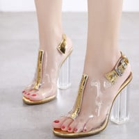 New popular crystal chunky heel fish-tip sandals for women
