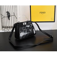 HCXX 19June 300 Fendi Peekaboo PVC Crystal Short Handle Transparent bag black