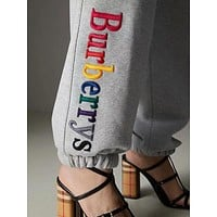 """""""Burberry""""Popular In The World Women Personality Colorful Letter Embroidery Drawstring Sport Stretch Pants Trousers Sweatpants I-ZYHFS"""