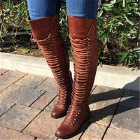 Women's Lace Up Tall Riding Boots