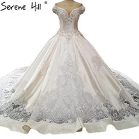 Ball Gown Satin Wedding Dresses Crystal Sequined Fashion Luxury Train Wedding Gown