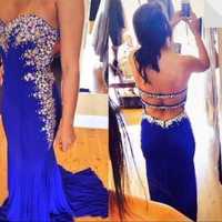 Sweetheart Backless Prom Dresses,Blue Prom Dress,Long Evening Dress