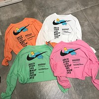 """Nike"" Women Casual Fashion Letter Print Long Sleeve Knit Sun Protection Clothing T-shirt Tops"
